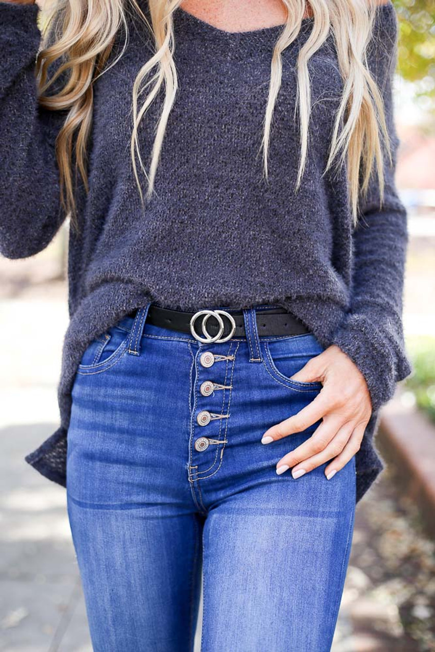 Allie Skinny Double-O Ring Belt