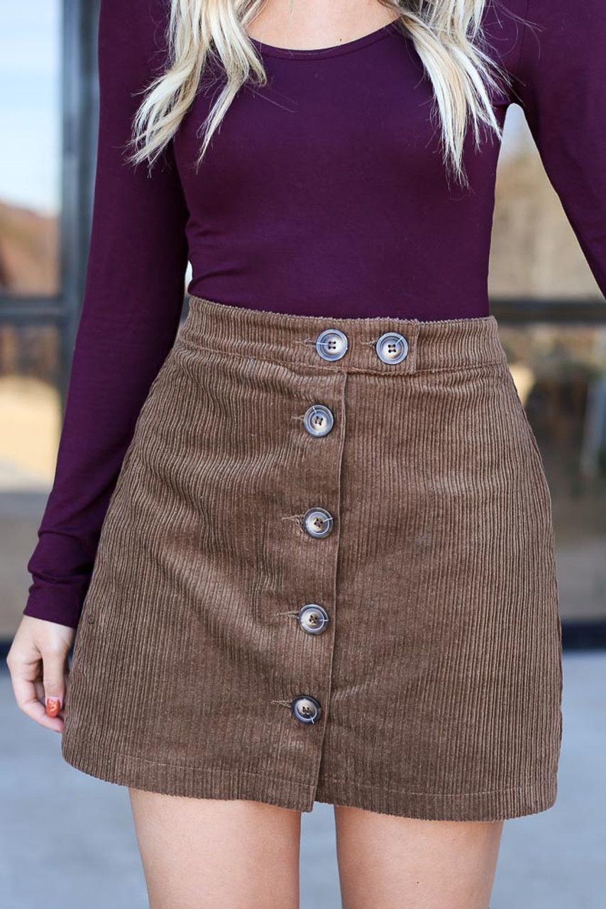Emerson Button Front Corduroy Skirt