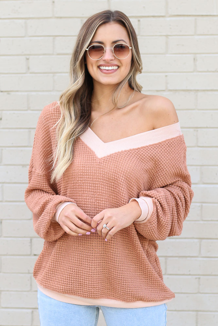 Amelia Oversized Waffle Knit Contrast Top