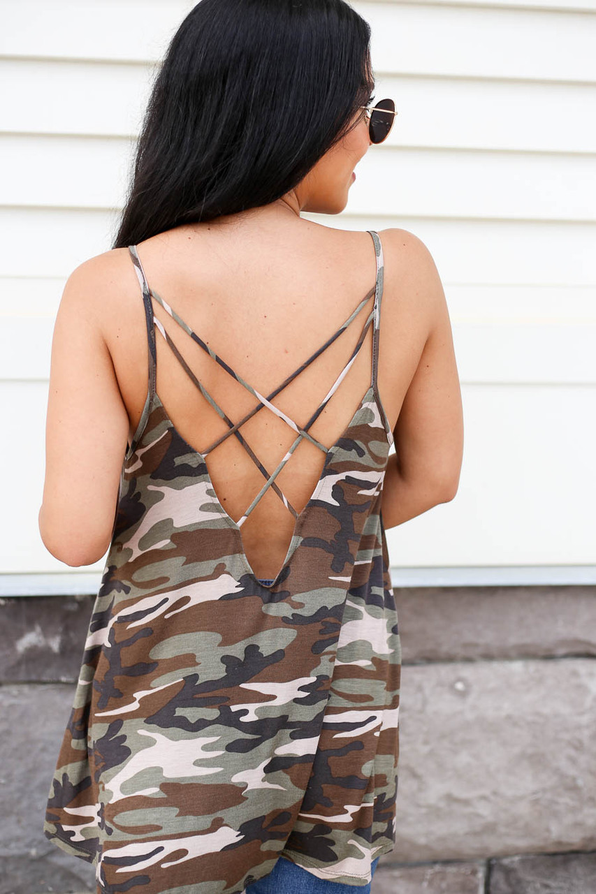 Kenzie Cross-Back Camo Tank