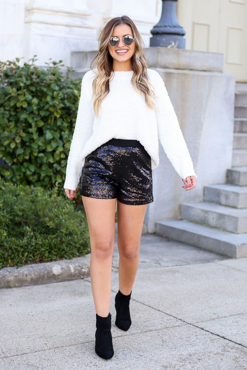 Mila Mid-Rise Sequin Shorts