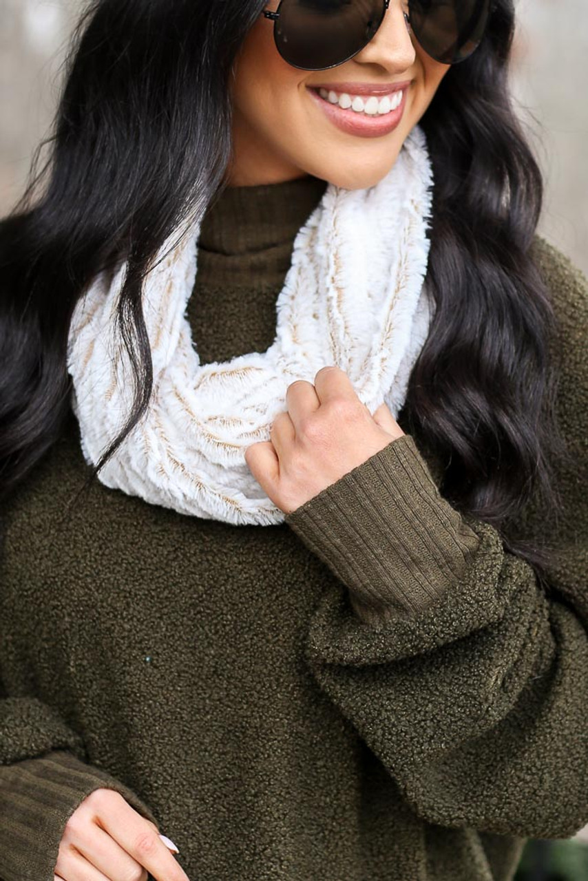 Cozy Faux Fur Color Block Infinity Scarf
