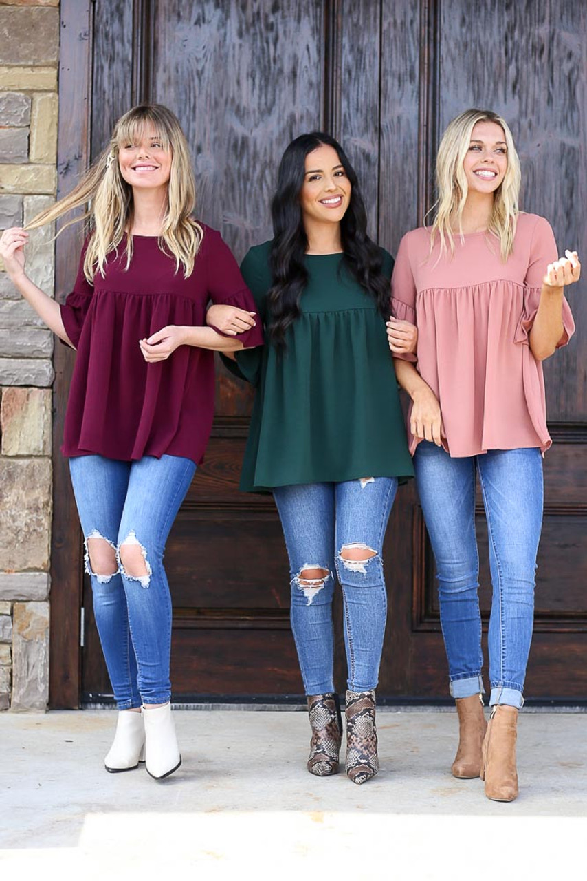 Ruffle Sleeve Babydoll Blouse in Three Colors