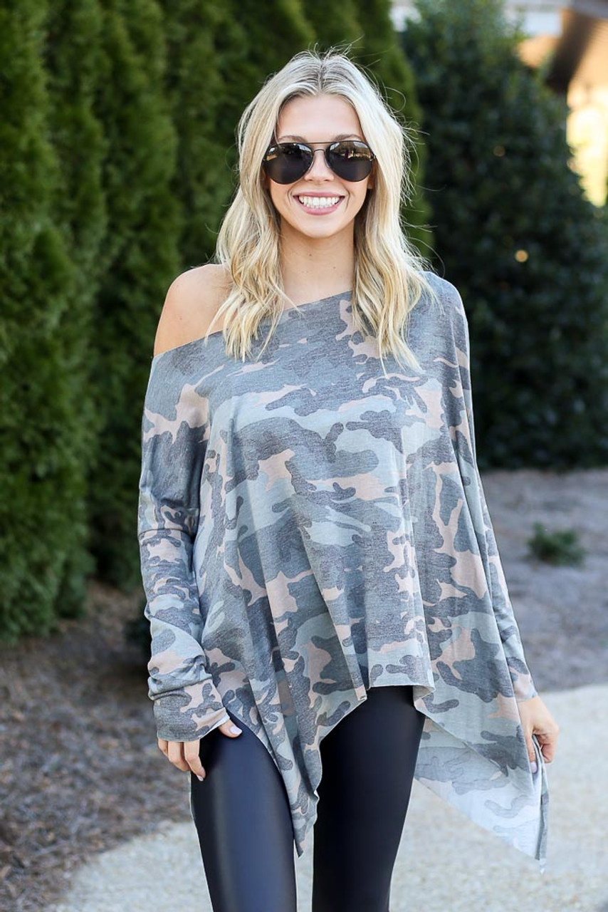 Emma Camo Asymmetrical Raw Hem Top