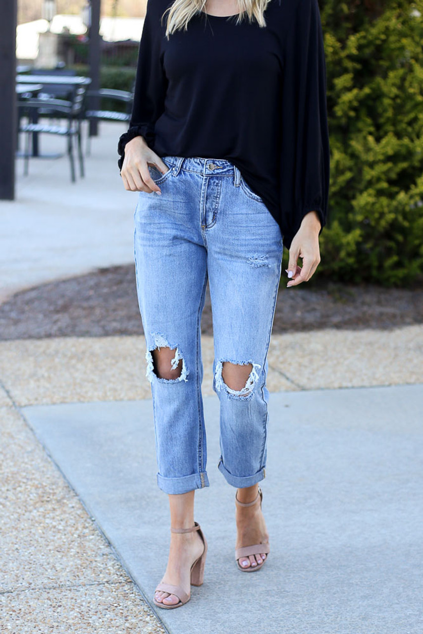 Camryn High-Rise Distressed Boyfriend Jeans