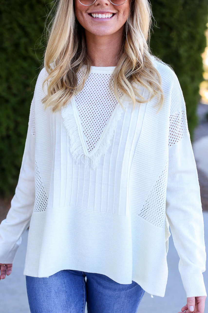 Mandy Fringe Oversized Knit Sweater