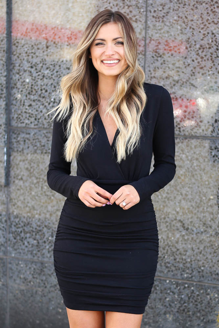 Model wearing the Soft Knit Bodycon Mini Dress in Black