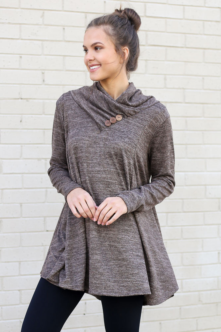 Bridget Crossover Cowl Neck Sweater Tunic