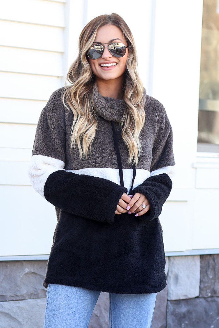 Charcoal - Fuzzy Knit Color Block Pullover
