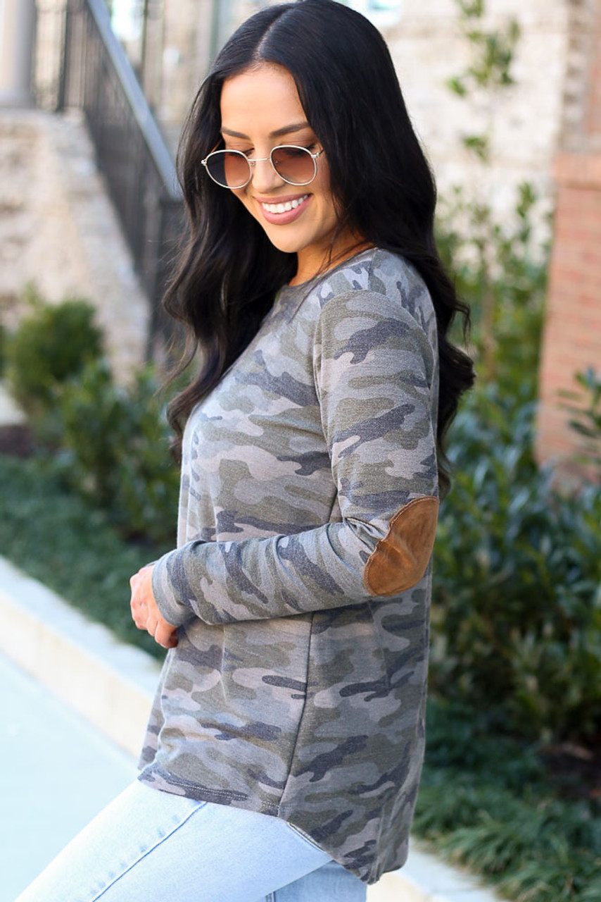 Elise Elbow Patch Camo Top