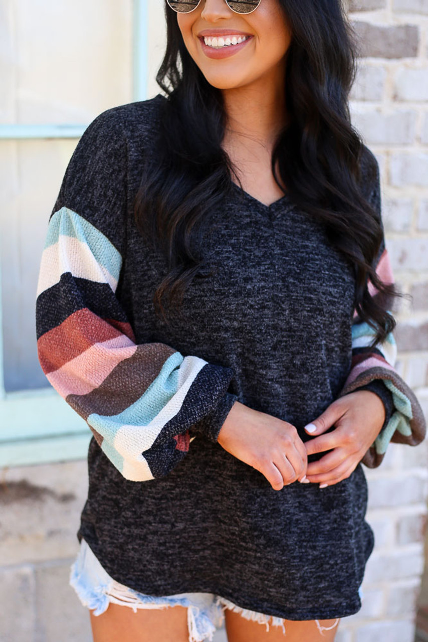 Sophie Statement Sleeve Brushed Knit Top
