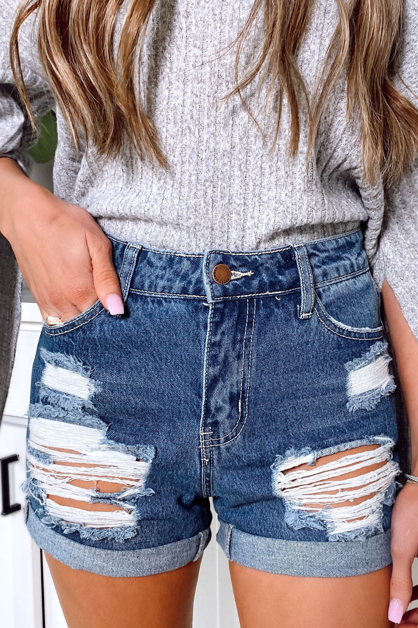 Hayley High-Waisted Distressed Denim Mom Shorts