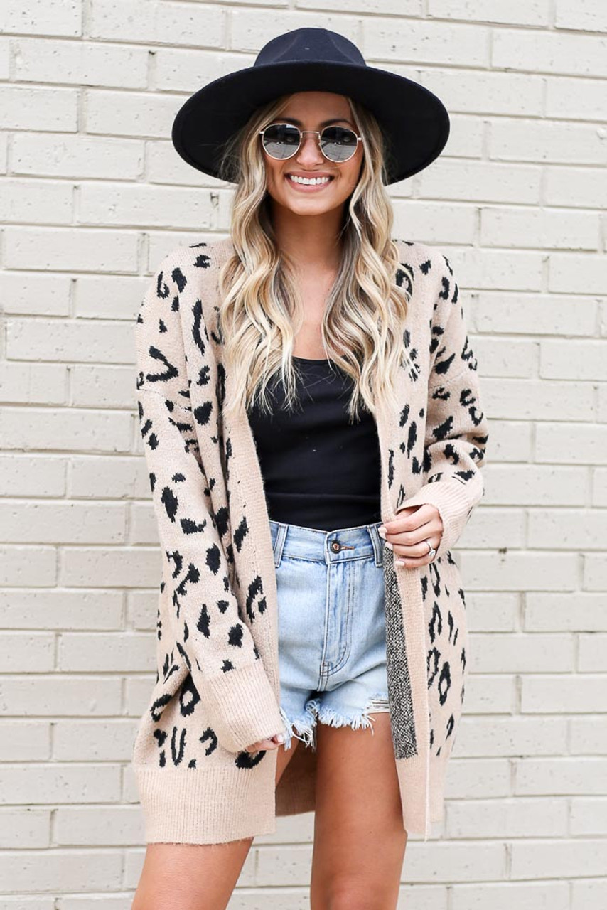 Taupe - Leopard Print Luxe Knit Cardigan
