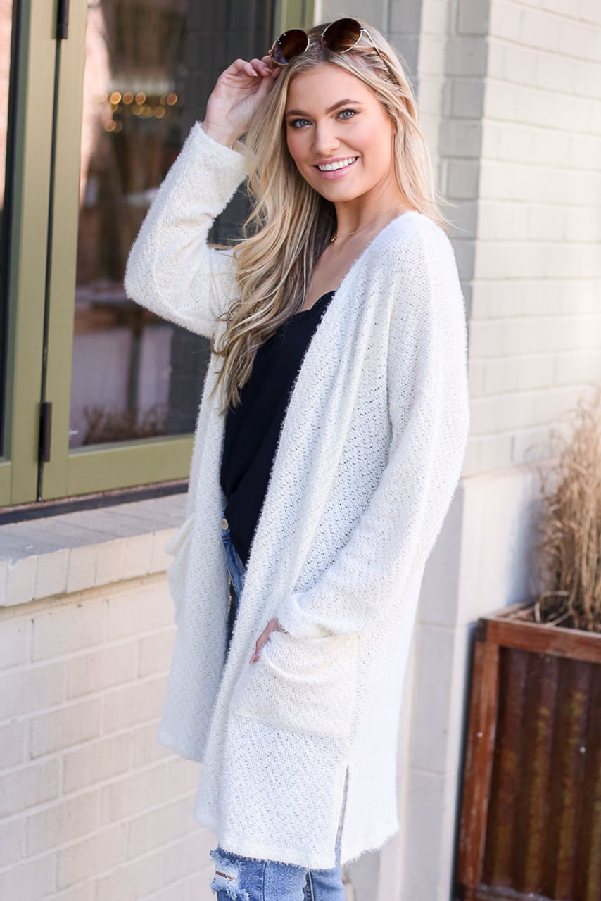 Lainey Fuzzy Knit Cardigan