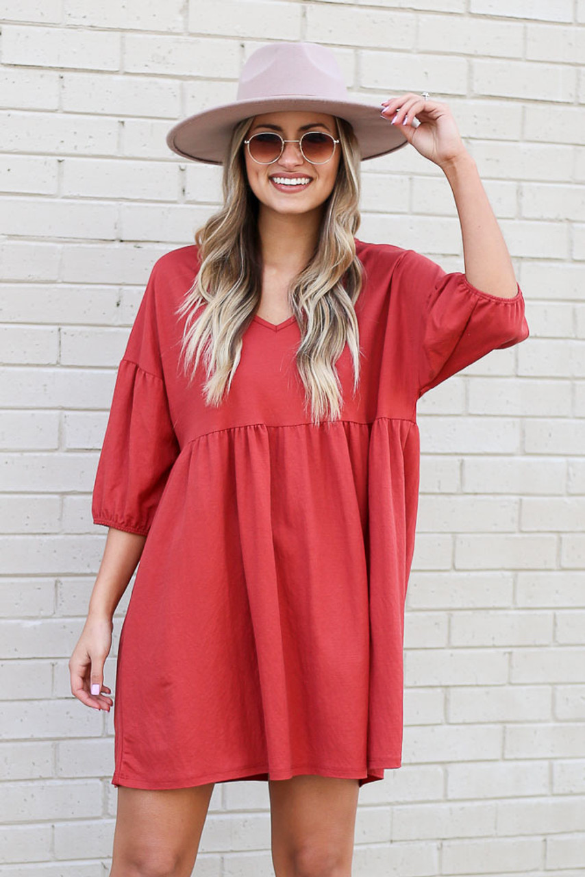 Marsala - V-Neck Babydoll Dress from Dress Up