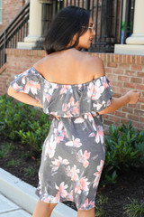 Model wearing Charcoal Off the Shoulder Floral Mini Dress Back View