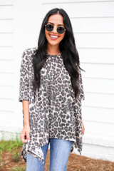 Model wearing Leopard Print Oversized Knit Top Front View