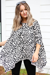 Leopard - Printed Flowy Oversized Top