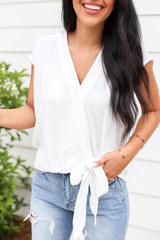 White - Tie Front Cross Over Sleeveless Blouse Detail View