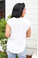 Model wearing White Tie Front Cross Over Sleeveless Blouse Back View