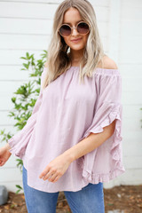 Model wearing Mauve Off the Shoulder Ruffle Sleeve Top Front View