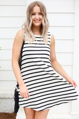 White and Black Striped Button Back Dress