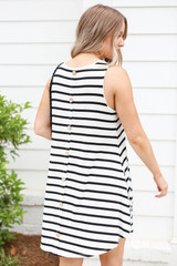 White - and Black Striped Button Back Dress Back View