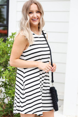 White Striped Button Back Dress Side View