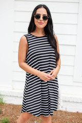 Black Striped Button Back Dress