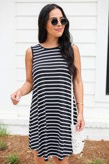Black - Striped Button Back Dress Front View