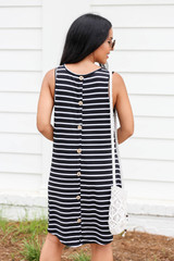Black - Striped Button Back Dress Back View