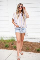 Model wearing Multi-Stripe Tie Front Button Up Top Full View