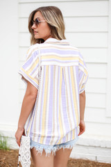 Model wearing Multi-Stripe Tie Front Button Up Top Back View