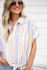 Model wearing Multi-Stripe Tie Front Button Up Top Detail View