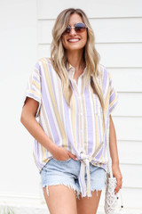 Model wearing Multi-Stripe Tie Front Button Up Top Front View