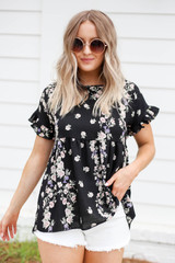 Model wearing Black Floral Ruffle Sleeve Babydoll Top Front View