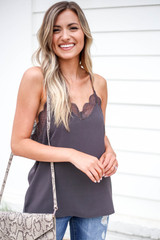 Model wearing Charcoal Lace Trim Tank Top Front View