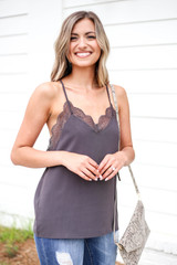 Model wearing Charcoal Lace Trim Tank Top