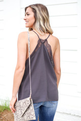 Model wearing Charcoal Lace Trim Tank Top Back View