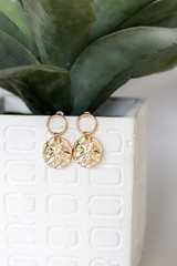 Gold Hammered Drop Earrings Product Shot