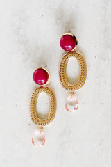 Red and Gold Statement Earrings Product Shot