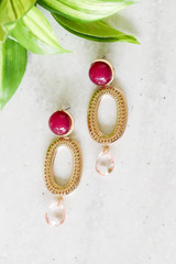 Red - And Gold Statement Earrings Flat Lay