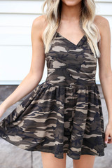 Model wearing Camo Crossover Romper Detail View