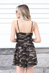 Model wearing Camo Crossover Romper Back View