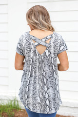 Grey - Snakeskin Criss Cross Back Top Back  View