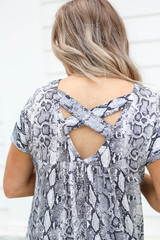 Model wearing Grey Snakeskin Criss Cross Back Top Back Detail View
