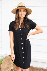 Model wearing Black Button Front Ribbed Mini Dress