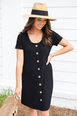 Black - Button Front Ribbed Mini Dress Front View