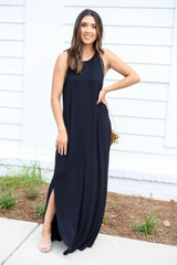 Model wearing Black High Neck Maxi Dress Front View