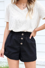 Black - Paperbag Waist Linen Shorts Detail View